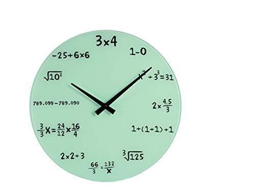 OOTB Orologio da Parete Bianco NUMERICO in Vetro Matematica Scuola CASA Ufficio Diametro 35 CM
