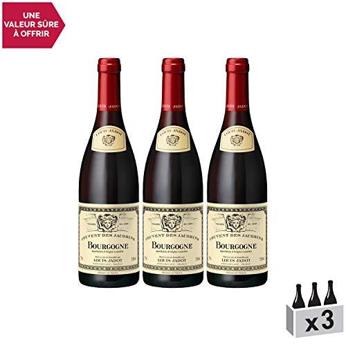 Bourgogne Couvent des Jacobins Rouge 2016 - Louis Jadot - Vin AOC Rouge de Bourgogne - Cépage Pinot Noir - Lot de 3x75cl