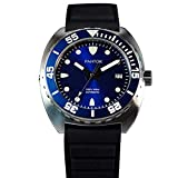 Mens Watches Pantor Sealion 300m Pro Automatic Divers Watches with Helium Valve Rotating Bezel Sapphire Rubber Strap & Nylon Strap (Blue)