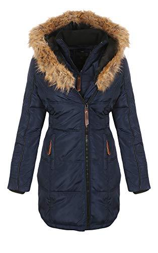 Geographical Norway Belissima - Parka invernale da donna, con cappuccio in pelliccia, XL blu navy M