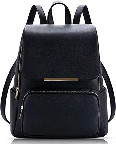 SAHAL Leatherette PU LEATHER BACKPACK for Women and Girls College Office Bag, Stylish latest Designer Spacious Purse with Gift for Her (BLACK)