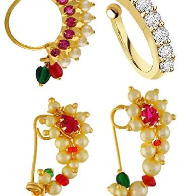 VAMA FASHIONS Gold Plated Maharashtrian Nath Clip on Combo Nose Ring Without Piercing for Women 10