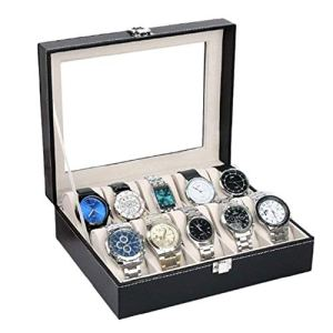 ORPIO (LABEL) PU Leather 10 Slots Wrist Watch Display Box Storage Holder Organizer Watch Case Jewelry Dispay Watch Box (Black, 20 x 25 x 8 cm) 2  ORPIO (LABEL) PU Leather 10 Slots Wrist Watch Display Box Storage Holder Organizer Watch Case Jewelry Dispay Watch Box (Black, 20 x 25 x 8 cm) 41qrf39XxaL