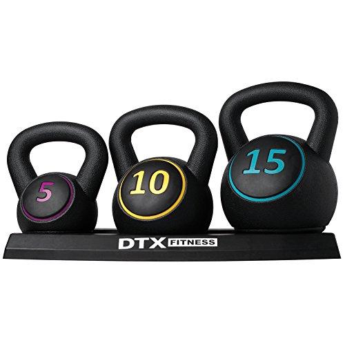 DTX Fitness - Set di kettlebell di diverso peso con supporto - 5 lb, 10 lb e 15 lb (2,26 kg, 4,53 kg...