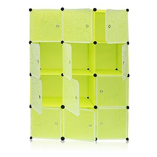 Homgrace 12 Cubi Armadio Modulare in Resina, Guardaroba Organizzatore DIY per Abbigliamento, Scarpe,...