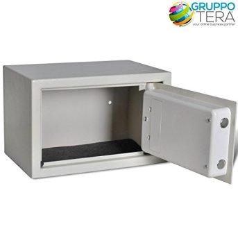 Bakaji-Wandtresor-Numerische-Digital-31-x-20-x-20-cm-Sicherheit-elektronische-Haus-Hotel-Hotel-Safe-4-x-AA-Batterien-und-Schlssel-von-Notfall-Farbe-Beige