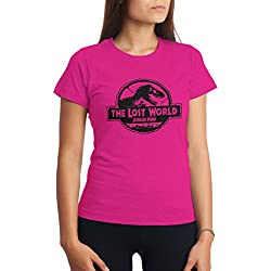 CHILLTEE The Lost World Jurassic Old Logo Park Artwork Dino Rosa Frambuesa Camiseta para Mujer S