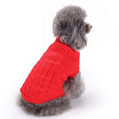 CHBORCHICEN Hundepullover, gestrickt, für den Winter, warm, klassisch, rot, X-Small