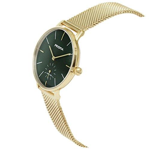 Prisma Damen Armbanduhr Retro Corum, Edelstahl gold mit Analog Quarzwerk, 5 ATM und Saphirglas P.1442 - 2