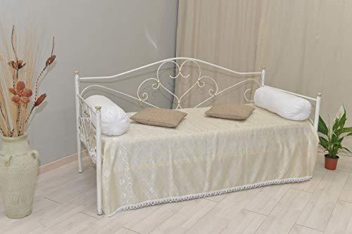 Divano letto in ferro battuto completo di rete a doghe Sogno bianco oro