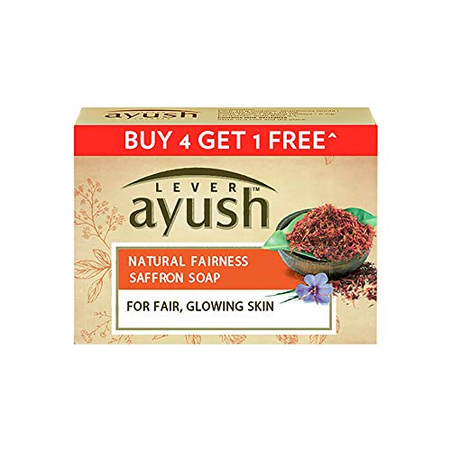 Lever Ayush Natural Fairness Saffron Soap, 100 g each (Buy 4 Get 1)
