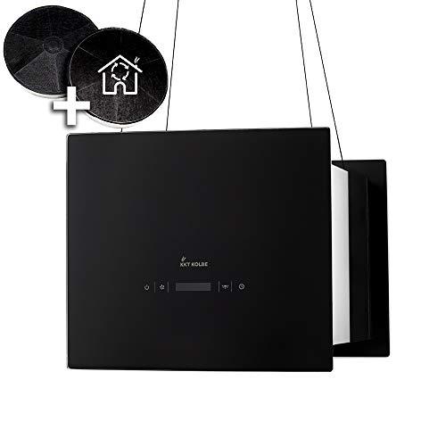 Cappa aspirante ad isola (40 cm, acciaio inox, vetro nero, extra silenziosa, 4 gradini,...