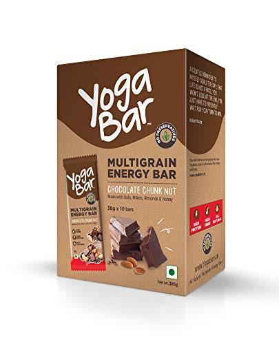 Yogabar Multigrain Energy Bars - 380gm (Chocolate Chunk Nut , 38gm x 10 Bars)