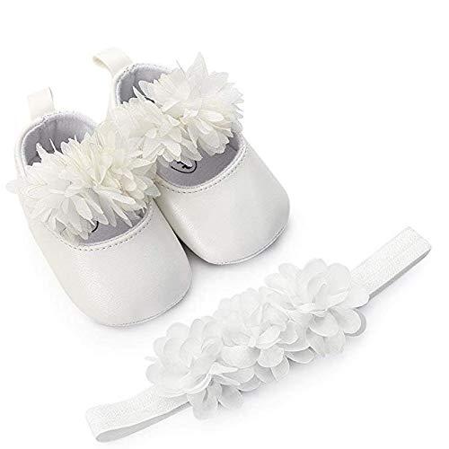 SamMoSon Scarpine neonato Scarpe da Bambino Ragazze Fiore Pelle Sneaker Shoes Sandali Primaver Scarpe Antiscivolo Sportive All'Aria Aperta da Ginnastica (Bianca, 11 0~6 Month)