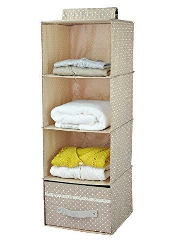 Pieghevoli mensole pensili armadio bagagli, scarpiera, 4 livelli con cassetto, albicocca Dot