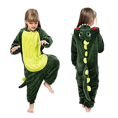 Coralup Pijama de Unicornio para niñas, Disfraz de Dinosaurio para Halloween, Cosplay, Disfraz de león con Capucha de Franela Supersuave, Pijama de una Pieza