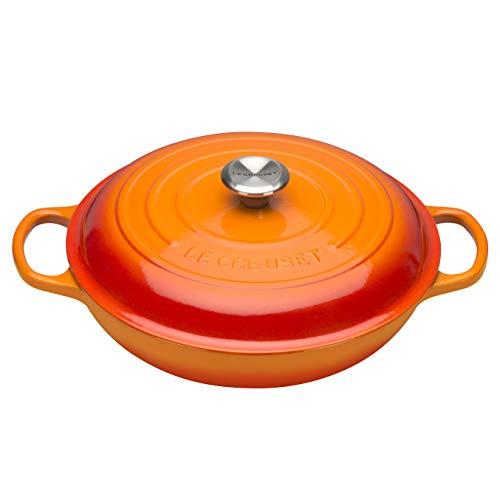Le-Creuset-Signature-Gusseisen-Gourmet-Profitopf-Rund--26-cm-2-l-Fr-alle-Herdarten-inkl-Induktion-geeignet-4205-kg-Ofenrot