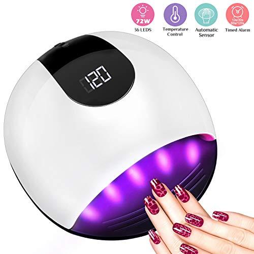 Lampada Unghie UV LED da 72W, Aiemok Nail Lamp Portatile con 36 Lampadine, Fornetto Unghie per...