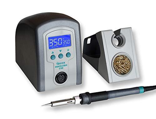 Quick 3104 digital regelbare ESD Lötstation 80 Watt inkl. Lötkolben mit 0,2 mm Lötspitze und Zubehör SMD Lötstation für Industrie, Labor, Schule und Hobby