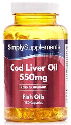 Lebertran 550mg - 360 Kapseln (2 Behälter á 180 Kapseln) - Versorgung für bis zu 6 Monaten - Aufrechterhaltung der allgemeinen Gesundheit - Simply Supplements