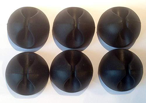 6 fermacavi adesivi neri, clip per organizzare la scrivania e fili - antigroviglio con biadesivo...