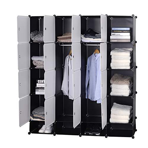 WOLTU Kleiderschrank Garderobenschrank Steckregalsystem Bücherregal Schuhregal Mit 2 Kleiderstange