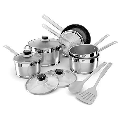 Backen 659912 - Batteria da cucina in acciaio inox, 12 pezzi, per tutti i tipi di fornelli a...