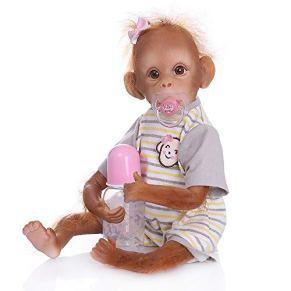 Pinky Reborn Muñecos bebé Renacer Mono Bebé 18 Pulgadas 45cm Silicona Muñeca Mono Bebe Muñeca Parece Realista Precioso…