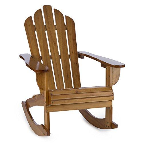 blumfeldt Rushmore Schaukelstuhl Schwingstuhl - Adirondack-Stuhl, witterungsbeständig, Tannenholz, hohe Rückenlehne, breite Armlehne, Tiefe Sitzfläche, 71 x 95 x 105 cm, max. 150 kg, braun