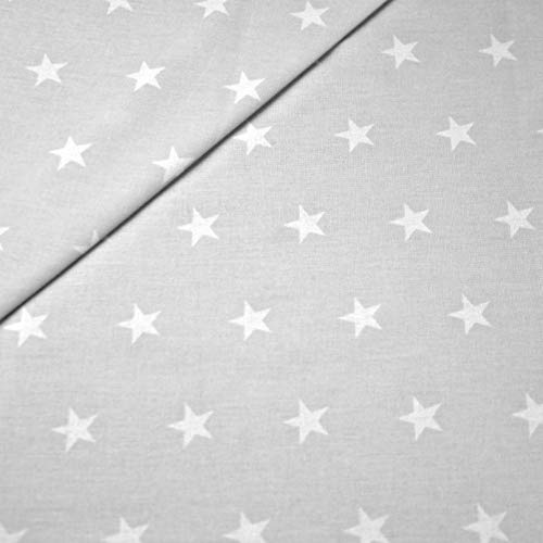 100{28db31355129e26707b2560c866c86d046b7d8dbe5504ec4aa74cef38f7cb3e2} Baumwolle Baumwollstoff Sterne Kinderstoff Meterware Handwerken Nähen Stoff 100x160cm 1 Meter (Grau Weiß)