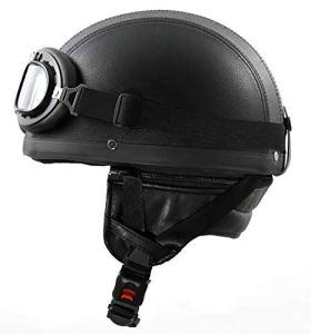 ATO Moto H110 Leder Retro Oldtimer Helm mit Leder bezogen und Fliegerbrille Größe S bis XL 8