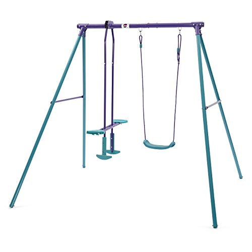 The Plum Helios II Metal Garden Swing & Glider Set is good for family with two kids. It is arguably the easiest structure to install in just about an hour. We like the soft-feel ropes and strudy swing seats, plus the rust-resistant steel frame. However, some customers have raised concerns about the solidness of the metal. Children will most likely outgrow the swing set pretty quicker and then it becomes useless since it won't support their weight anymore. Nonetheless, this is an affordable buy that you can start early for 3-year old children.