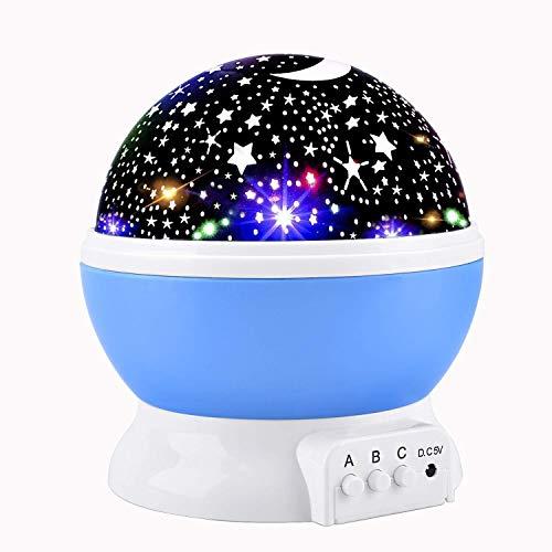 Lampada di Illuminazione Notturna,Lampada Stelle Proiettore Bambini, Rotante 360 Grado Stella Luna...
