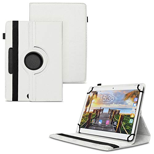 TGK 360 Degree Rotating Universal 3 Camera Hole Leather Stand Case Cover for Fusion5 105D 9.6 inch Tablet - White