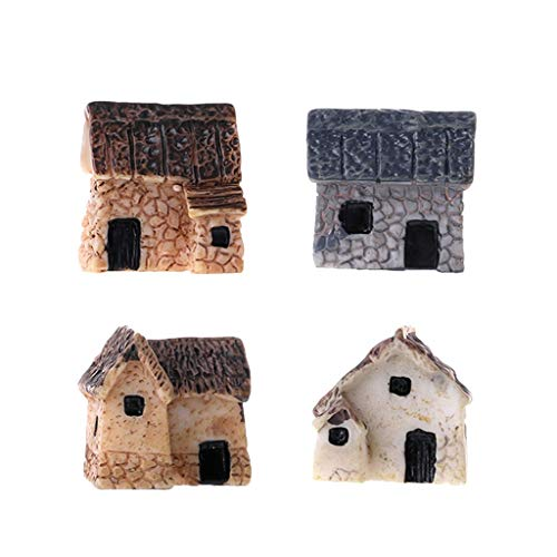 Morza 4 Pezzi Kit Miniatura Fairy Garden Case di Pietra Mini casetta House Miniatures Decor Accessori Giardinaggio Decoration