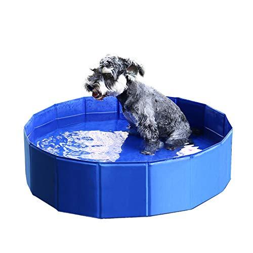 PAWZ Road Hundepool Badewanne Planschbecken Swimmingpool Usammenklappbares Hundebad Draussen Tragbar für Große Kleine Hunde Katzen Blau M 80 * 20 cm