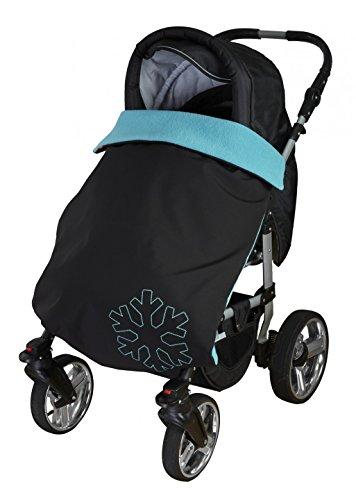 ByBoom Copertina termoattiva in softshell per la carrozzina; copertina funzionale/universale/da outdoor per bebè, Colore:Nero/Fucsia