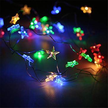 Sunnymi étoile lumière chaleureuse Guirlande lumineuse pour chambre à coucher fête avec 30LED Perles pour fête de mariage Sapin de Noël Patio Décoration