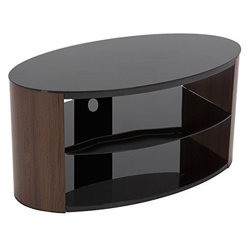 Mobiletto per TV ovale a effetto noce, con piano superiore e ripiani in vetro nero, per TV fino a...