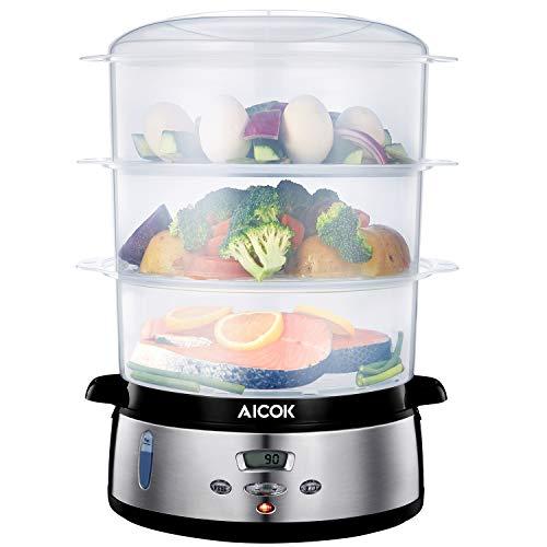Aicok Vaporiera 9 Litri BPA Free Vaporiera Elettrica con temperatura del display a led e tempo...