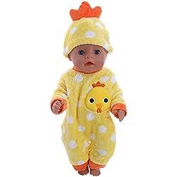 Conjunto de Pijamas de Invierno Mono Estampado+Sombrero en Forma de Animal para 18 Pulgadas Muñeca Americana Chica Múltiples Estilos Gusspower