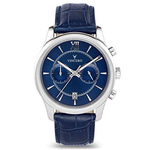 Montre-bracelet de luxe Vincero pour homme - Cadran bleu avec bracelet en cuir bleu - Montre chronographe 43mm - Mouvement à quartz japonais