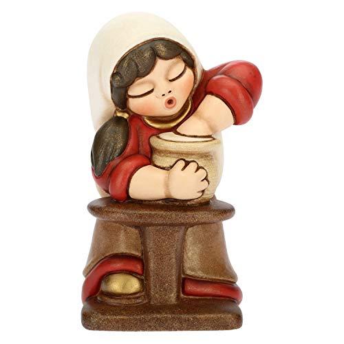 THUN - Donna Vasaia con Tornio - Versione Rossa - Statuine Presepe Classico - Ceramica - I Classici