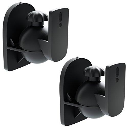 deleyCON 2x Supporti Staffe Universali per Altoparlanti e Casse Acustiche Girevoli + Inclinabili, Peso fino a 3,5kg Montaggio a Soffitto + Montaggio a Parete - Nero