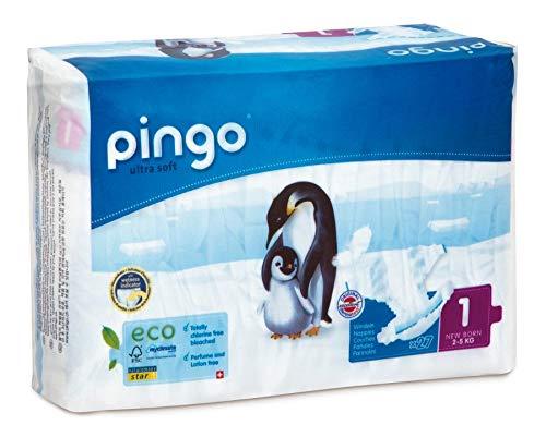 Pingo pannolini ecologici taglia 1neonato (2–5kg)–2 confezioni da 27pannolini, nuovo contenitore compatto e biodegradabile