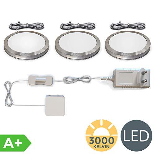 Set di 3 luci da incasso LED, Kit completo luci sottopensili o per armadi, Lampade LED da cucina o...