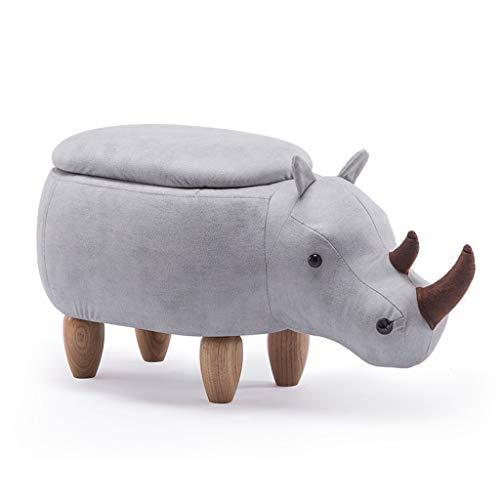 Pedale HUA Cartone Animato Rhinoceros Poggiapiedi con Funzione di archiviazione in Legno massello...