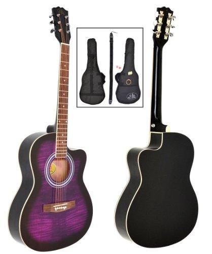 ts-ideen - Chitarra acustica folk 4/4 con motivo in viola lilla/nero, con set di accessori: borsa...