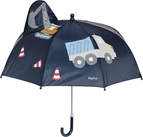 Playshoes Jungen 3D Baustelle Regenschirm, Blau (Marine 11), One Size