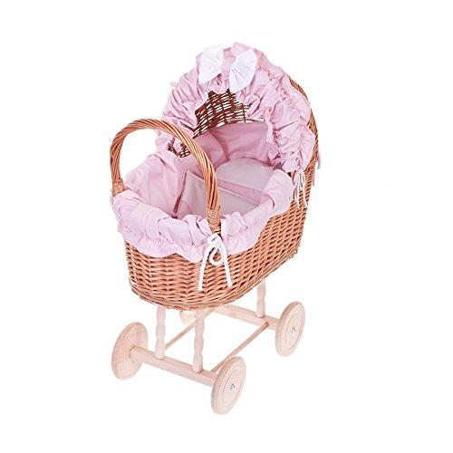 E di wicker24520-48/O róż Passeggino per Bambole in Vimini, Cestino, Honiggelb, 48x 27x 55cm